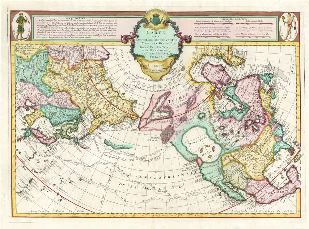 1776 De L'Isle / Santini Map of North America and the Arctic (Sea of the West)