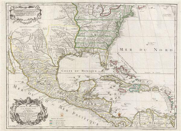 Carte du Mexique et des Etats unis d'Amerique, Partie Meridionale.