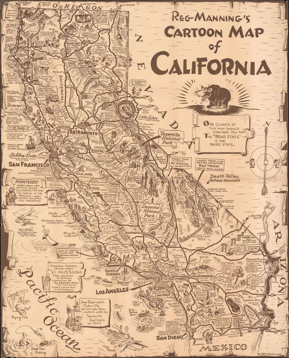 1939 Manning Pictorial Map of California
