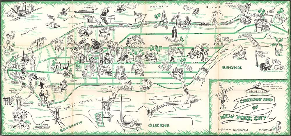 Cartoon Map of New York City.