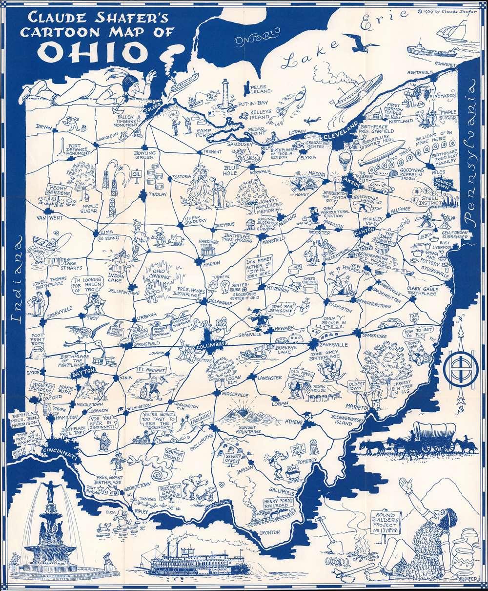 Claude Shafer's Cartoon Map of Ohio. - Main View