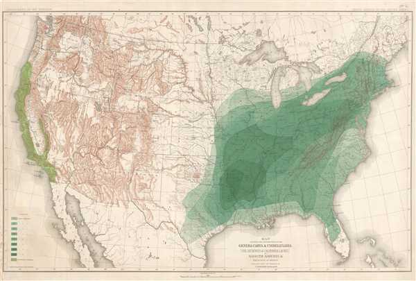 Map Showing the Distribution of the Genera Carya and Umberllularia (The Hickories and California Laurel) in North America Exclusive of Mexico.