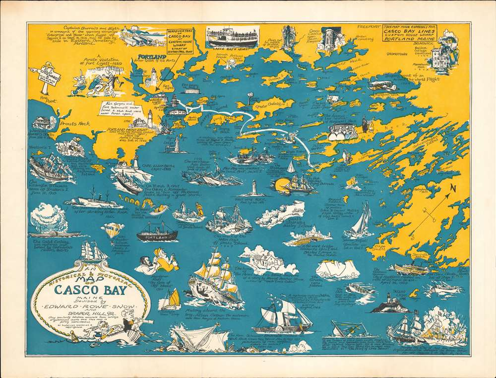 An Historical and Pictorial Map of Casco Bay Maine.