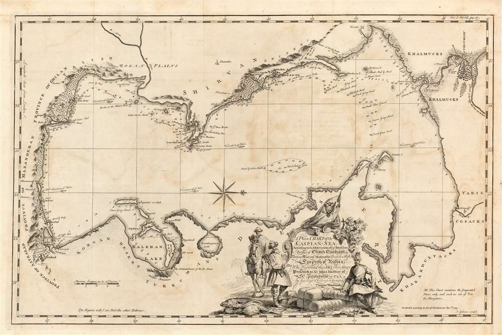 A Plain Chart of the Caspian-Sea, According to the Observations of Capt. John Elton, Author of Elton's Quadrant, and Thomas Woodroofe, Master of the British Ship <i>Empress of Russia</i>, Who navigated this Sea three years; Presented to Mr. Jonas Hanway of St. Petersburgh in 1745 by his most Obedient Servant Thomas Woodroofe. - Main View