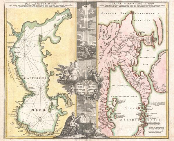 Geographica Nova ex Oriente Gratiosissima, Duabus Tabulis Special. contenta, quarum Una Mare Caspium, Altera Kamtzadaliam, seu Terram Jedso.