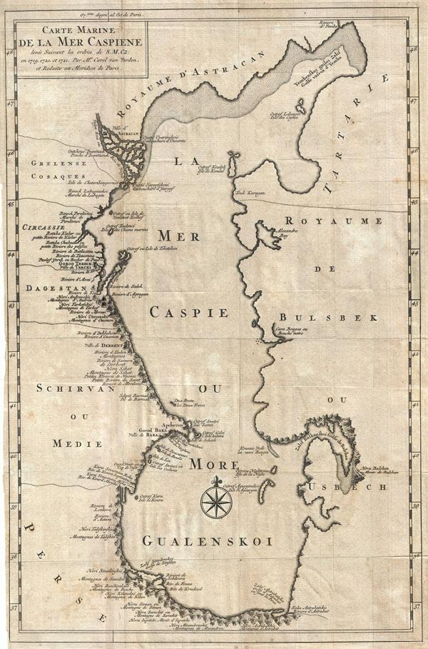 Carte Marine de la Mer Caspiene levee Suivant les ordres de S. M. Cz: en 1718, 1720, et 1721.