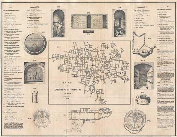 Plan der Catacombe St. Callixtus in Rom.