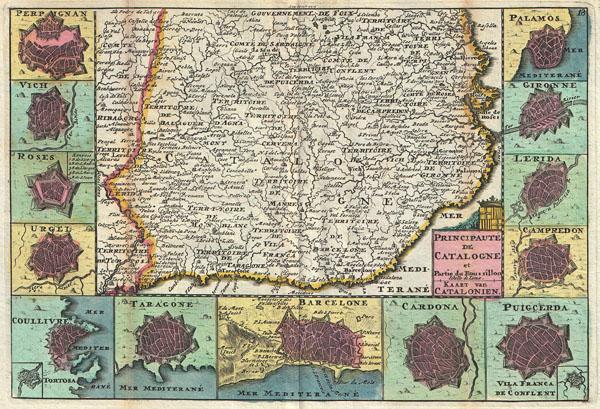Principaute de Catalogne et Partie du Rous sillon Echelle de Lieux. / Kaart van Catalonien.