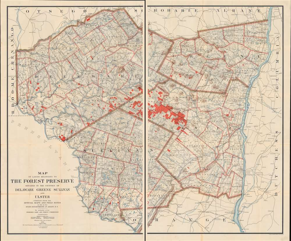 Map of Lands Belonging to the Forest Preserve situated in the Counties of Delaware Greene Sullivan and Ulster. Compiled from the Official Maps and Field Notes on file in the State Departments at Albany, N.Y. By authority of the Fisheries, Game and Forest Commission. - Main View