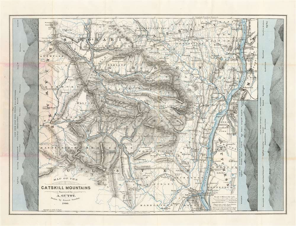 1880 Arnold Guyot Map of the Catskill Mountains