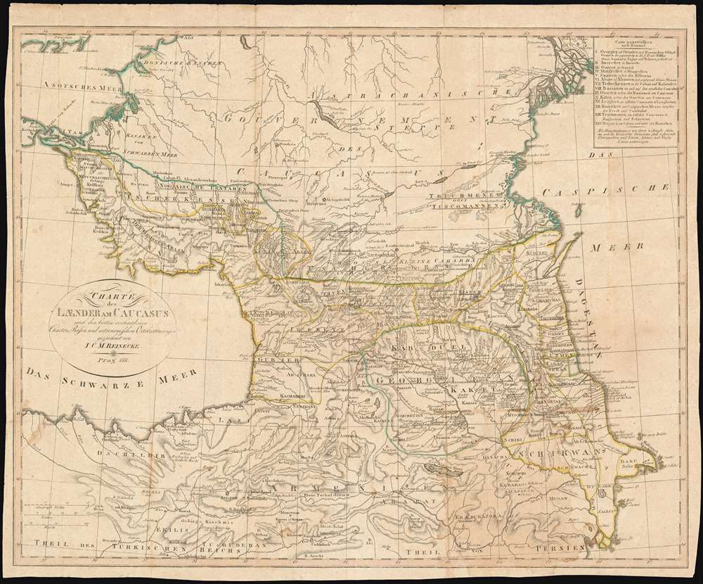1811 Reinecke Map of the Caucasus, Armenia and Georgia