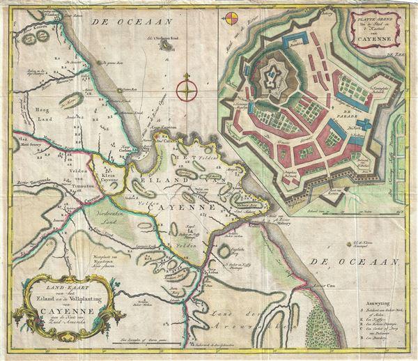 Land-Kaart van het Eiland en de Volkplanting van Cayenne aan de Kust van Zuid-Amerika.