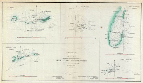 Sketch F No. 2 Showing the progress of the Survey of Cedar Keys, Bahia Honda, Key Biscayne Key West & Dry Tortugas in Section No. VI 1849-51.