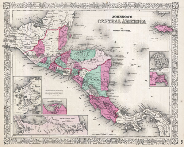 Cenral America Map.Johnson S Central America Geographicus Rare Antique Maps