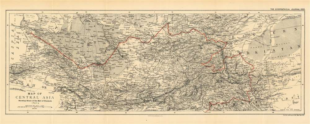 1893 Johnston Map of Central Asia Tracing the Route of the Earl of Dunmore