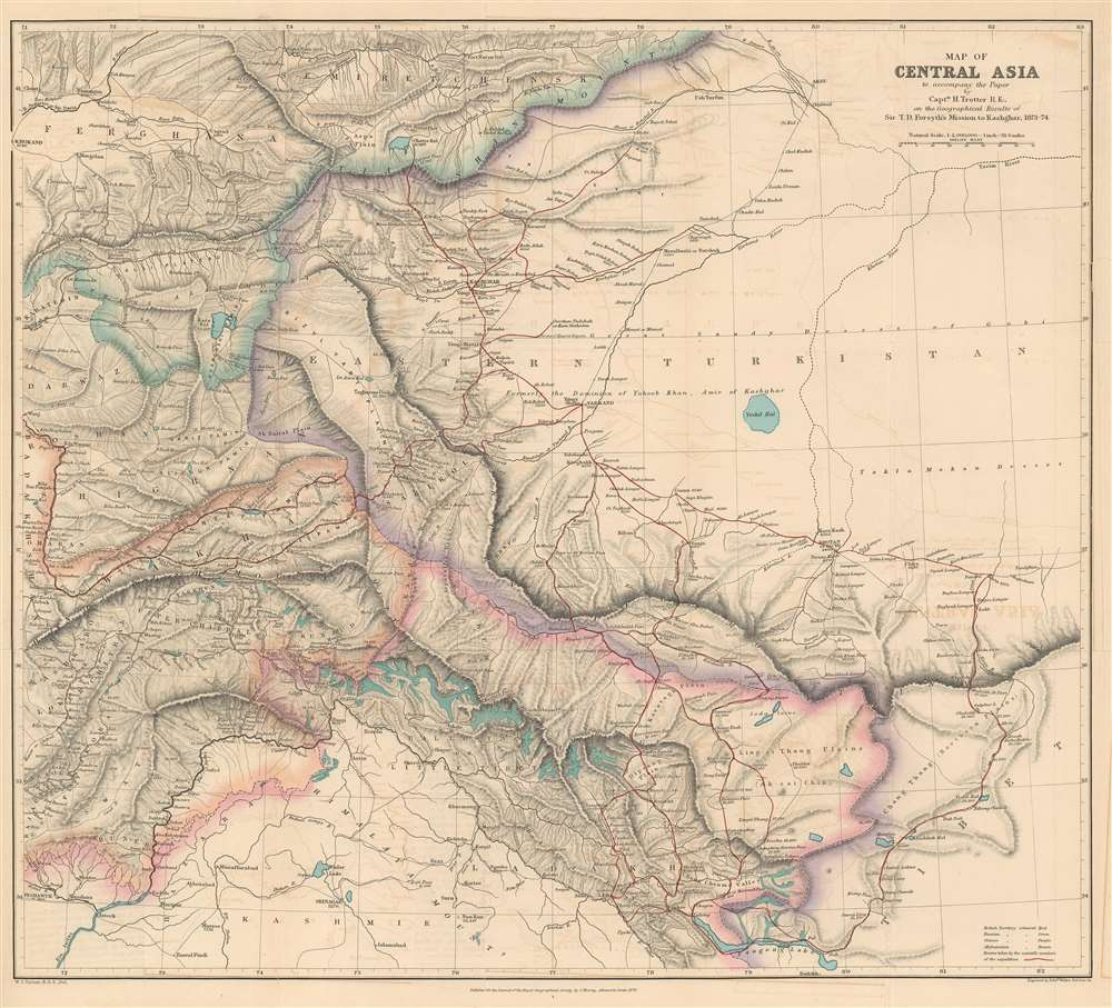 Map of Central Asia to accompany the Paper by Captain H. Trotter R.E., on the Geographical Results of Sir T.D. Forsyth's Mission to Kashgar, 1873 - 74. - Main View