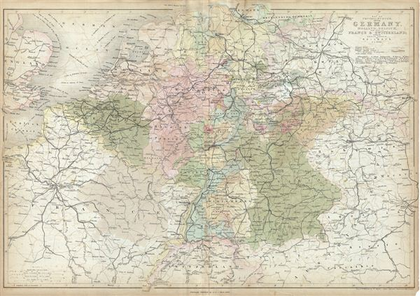 Map of Central Europe embracing Germany, Holland, Belgium, France, Switzerland; showing the Roads, Canals, and Railways.