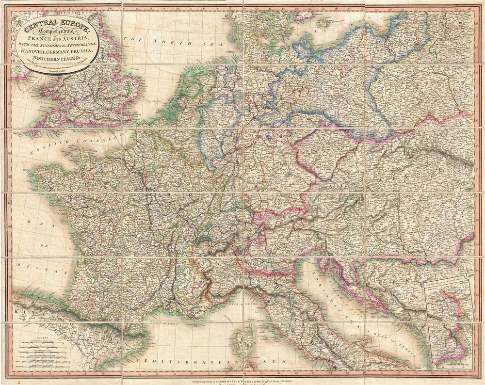Central Europe: Comprehending France and Austria, with the Kingdom of the Netherlands, Hanover, Germany, Prussia, Northern Italy, & c. - Main View