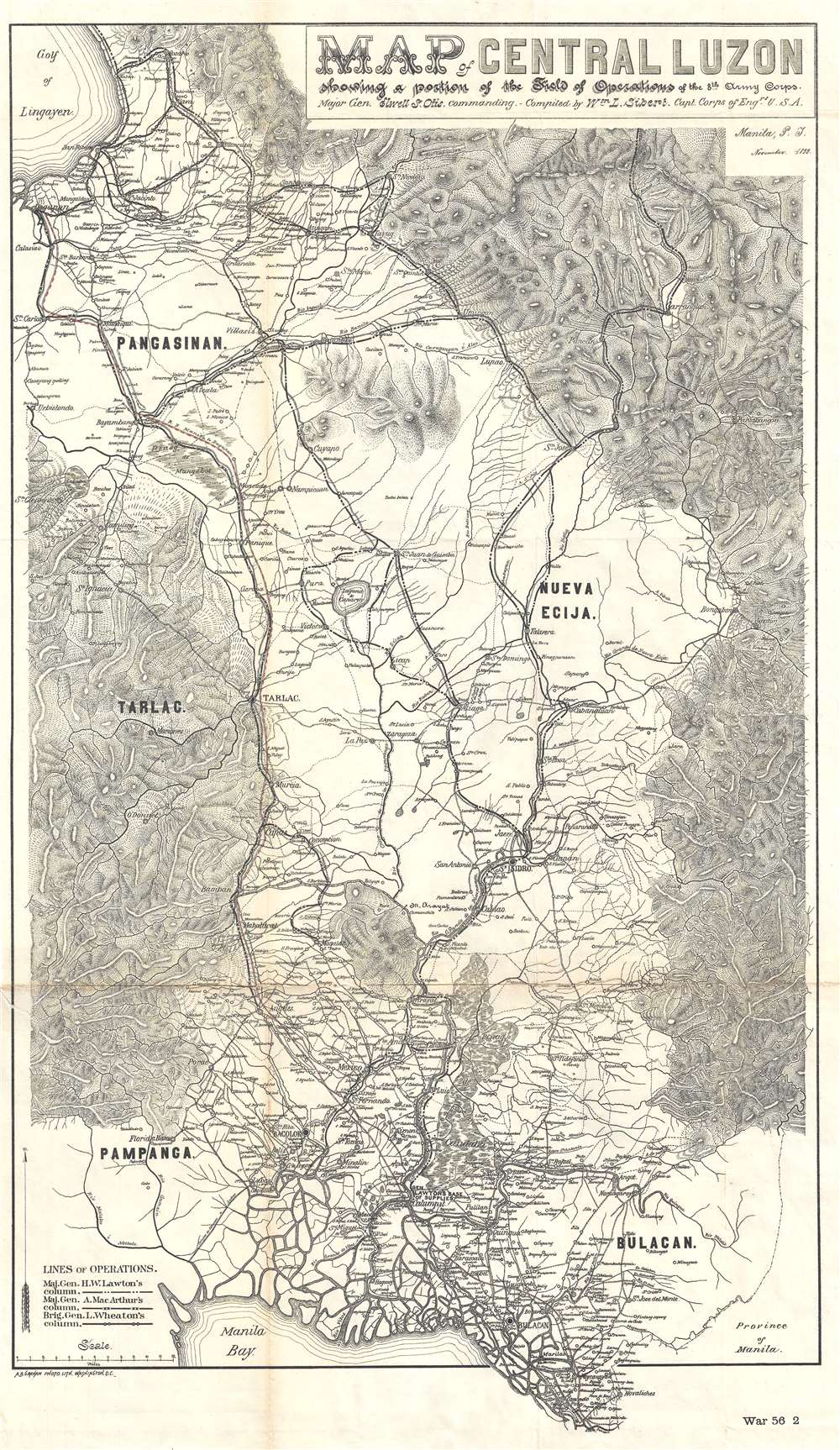 Map of Central Luzon showing a portion of the Field of Operations of the 8th Army Corps.