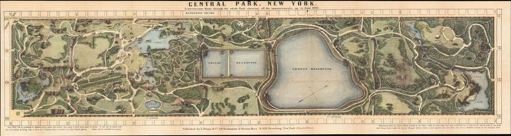 Central Park, New York, A picturesque Guide through the whole Park showing all the improvements up to June 1865. - Main View