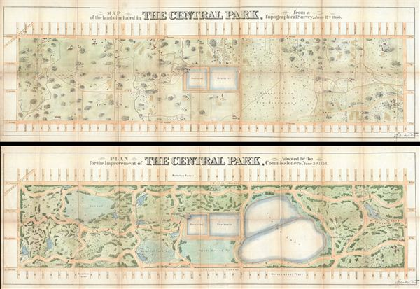 Map of the Lands Included in The Central Park, from a Topographical Survey, June 17th 1856.   Plan for the Improvement of The Central Park, Adopted by the Commissioners, June 3rd 1856.