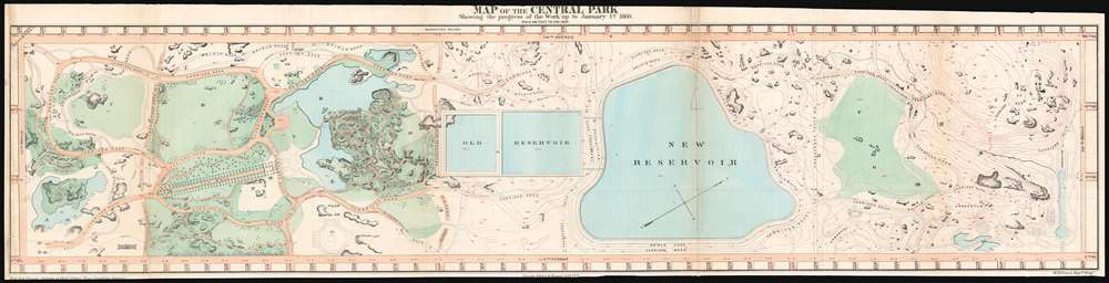 1860 Vaux and Olmstead Map of Central Park, New York City