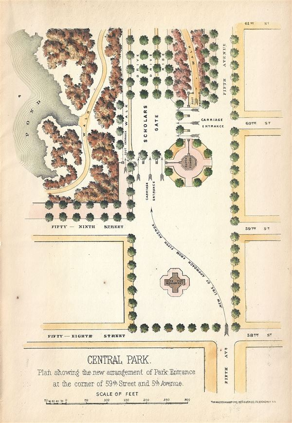 Central Park.  Plan showing the new arrangement of Park Entrance at the corner of 59th Street and 5th Avenue. - Main View