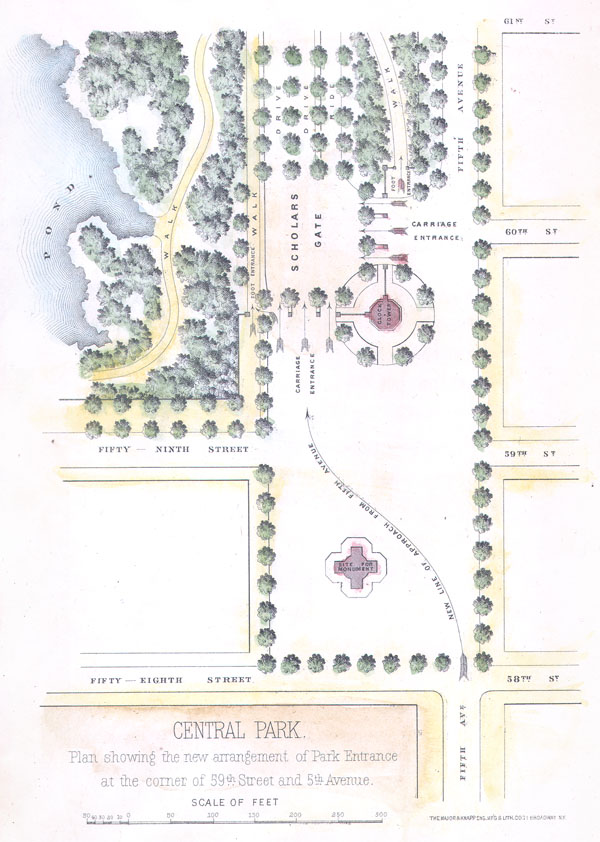 Central Park.  Plan showing the new arrangement of Park Entrance at the corner of 59th and 5th Avenue