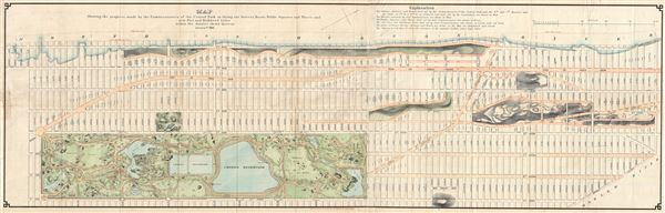 Map Showing the progress made by the Commissioners of the Central Park in laying out Streets, Roads, Public Squares and Places and new Pier and Bulkhead Lines within the district shown thereon.