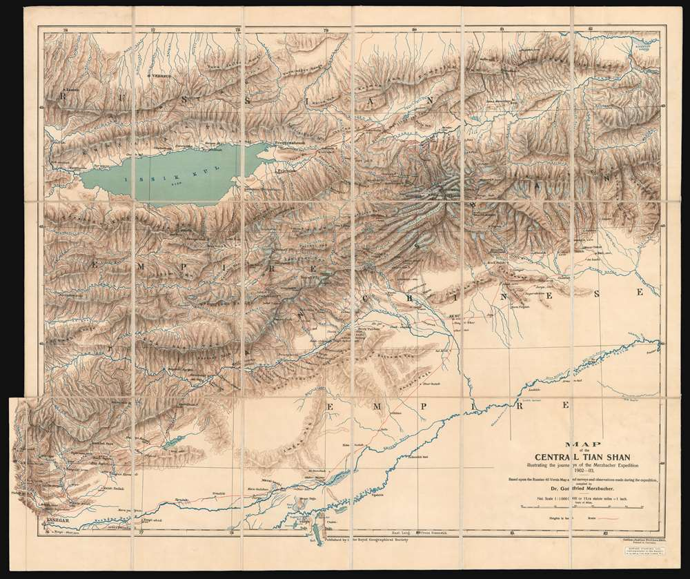 1905 Merzbacher Map of Central Tian Shan Mtns. (Western China and Kyrgyzstan)