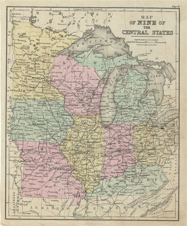Map of Nine of the Central States.
