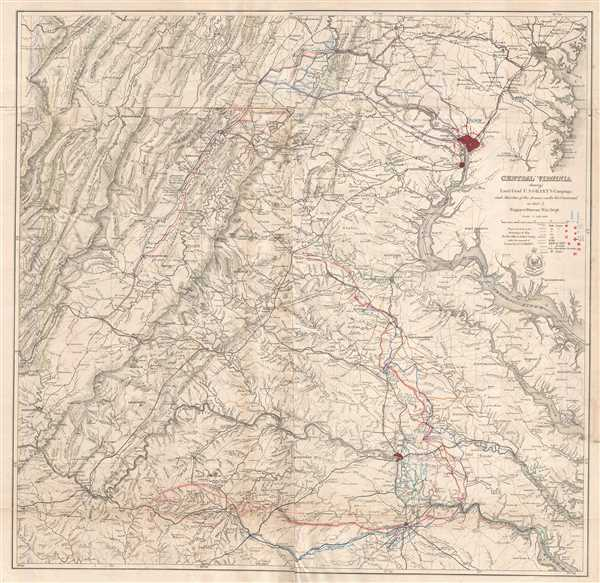 Central Virginia Map.Central Virginia Showing Lieut Gen L U S Grant S Campaign And