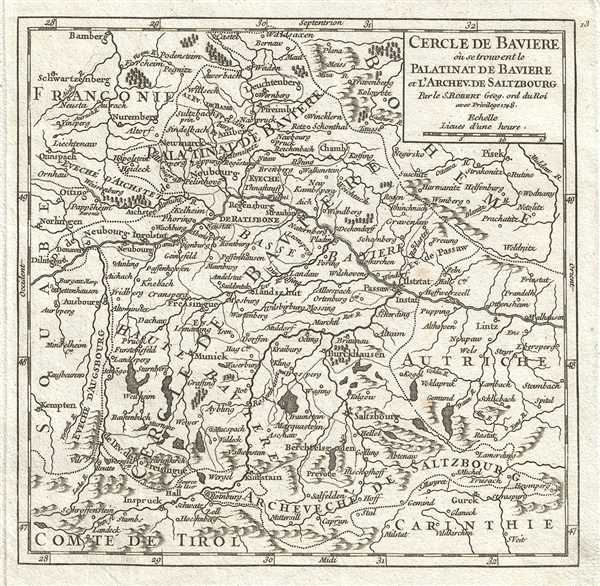 1748 Vaugondy Map of Bavaria and Salzburg, Germany