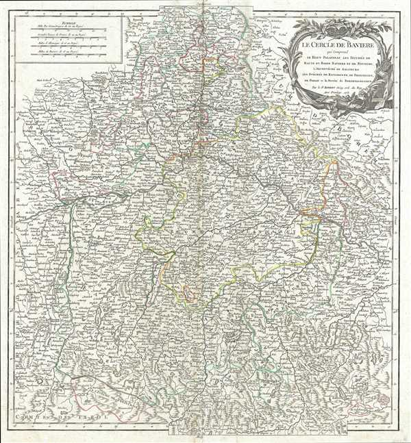 Le Cercle de Baviere qui comprend le Haut Palatinat, les Duchés de Haute et de Basse Baviere et de Neuburg, l'Archevéché de Salzburg, les Évéchés de Ratisbonne, de Freisingen, de Passau et la Prevôte de Berchtolsgaden.
