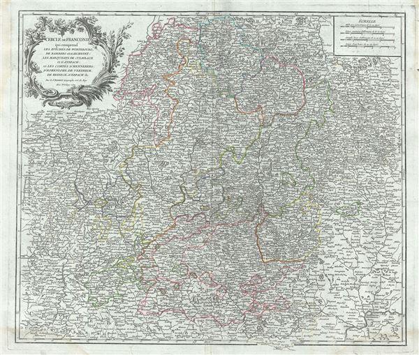 Cercle de Franconie qui comprend les Eveches de Wurtzbourg, de Bamberg et d'Aichstet; les Marquisats de Culmbach et d'Anspach; et les Comtes d'Henneberg, d'Hohenlohe, de Vertheim, de Reineck, d'Erpach etc.