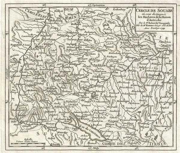 1749 Vaugondy Map of Swabia, Germany