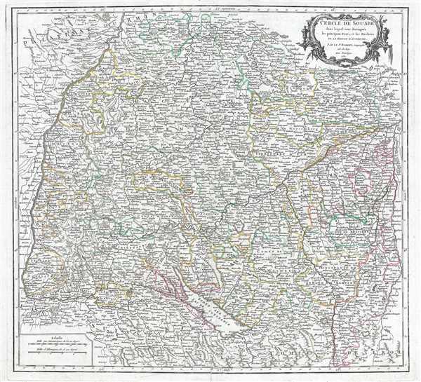 Cercle de Souabe, dans lequel sont distingués les principaux Etats, et les Enclaves de la Maison d'Autriche.