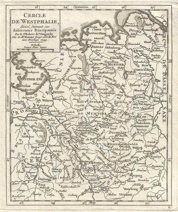 Cercle de Westphalie, divise suivant ses differentes Principautes.