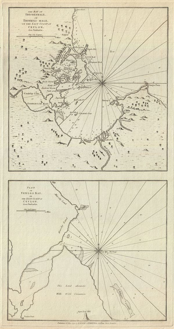 The Bay of Tricoenmale or Trinkili-Male, on the East Coast of Ceylon.  Plan of Venlos Bay, on the East Coast of Ceylon.