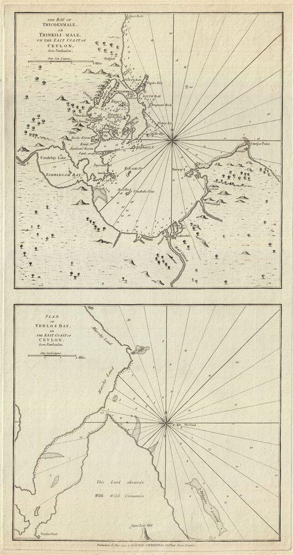The Bay of Tricoenmale or Trinkili-Male, on the East Coast of Ceylon.  Plan of Venlos Bay, on the East Coast of Ceylon.