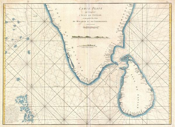 Carte Plate qui Comprend L'Isle de Ceylan, et une partie des Cotes de Malabar et de Cormandel.