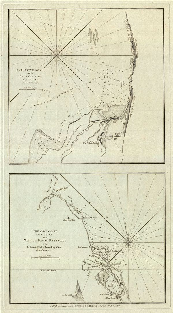 Calpentyn Road, on the West Coast of Ceylon.  The East Coast of Ceylon, from Venlos Bay to Batecalo, with the Banks, Rocks, Soundings & ca.
