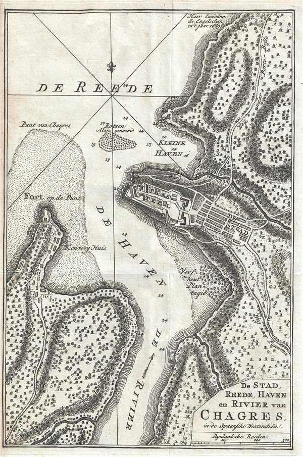 De Stad, Reede, Haven en Rivier van Chagres, in de Spaansche Westindiën. - Main View