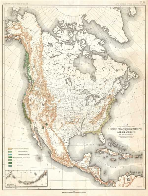Map Showing the Distribution of the Genera Chamæcyparis and Cupressus in North America. Exclusive of Mexico.
