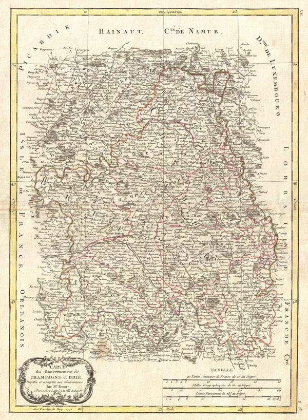 Carte du Gouvernement de Champagne et Brie.