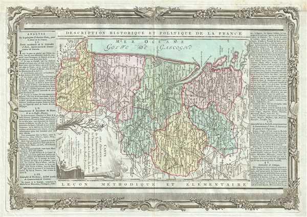 Carte des Departemens de la Charente Inferieure de la Charente, de la Gironde, de la Dordogne, des Landes, du Lot et Garonne et des Basses Pyrenees.