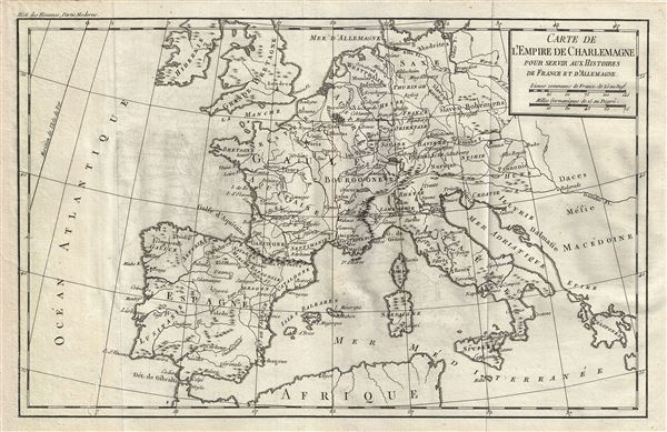 Carte de l'Empire de Charlemagne pour servir aux Histoires de France et d'Allemagne.