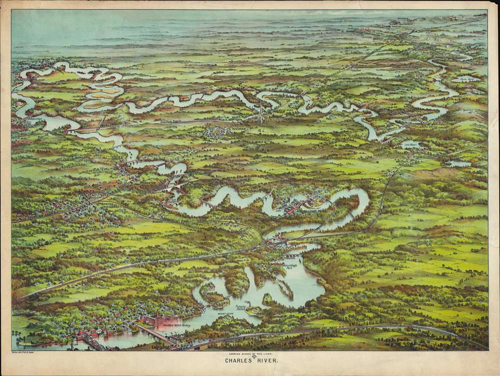 Canoe Map of Charles River Bird's-Eye View Showing Carriers, Dams, Etc.
