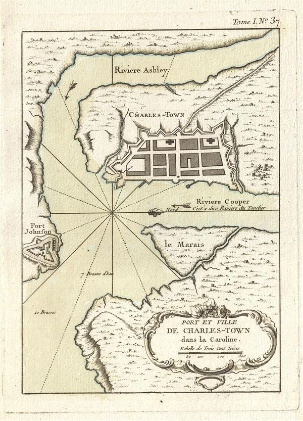 Port et Ville de Charles-Town dans la Caroline.