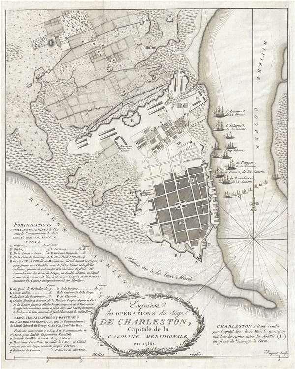 Esquisse des Opérations du Siège de Charleston, Capitale de la Caroline Méridionale, en 1780.